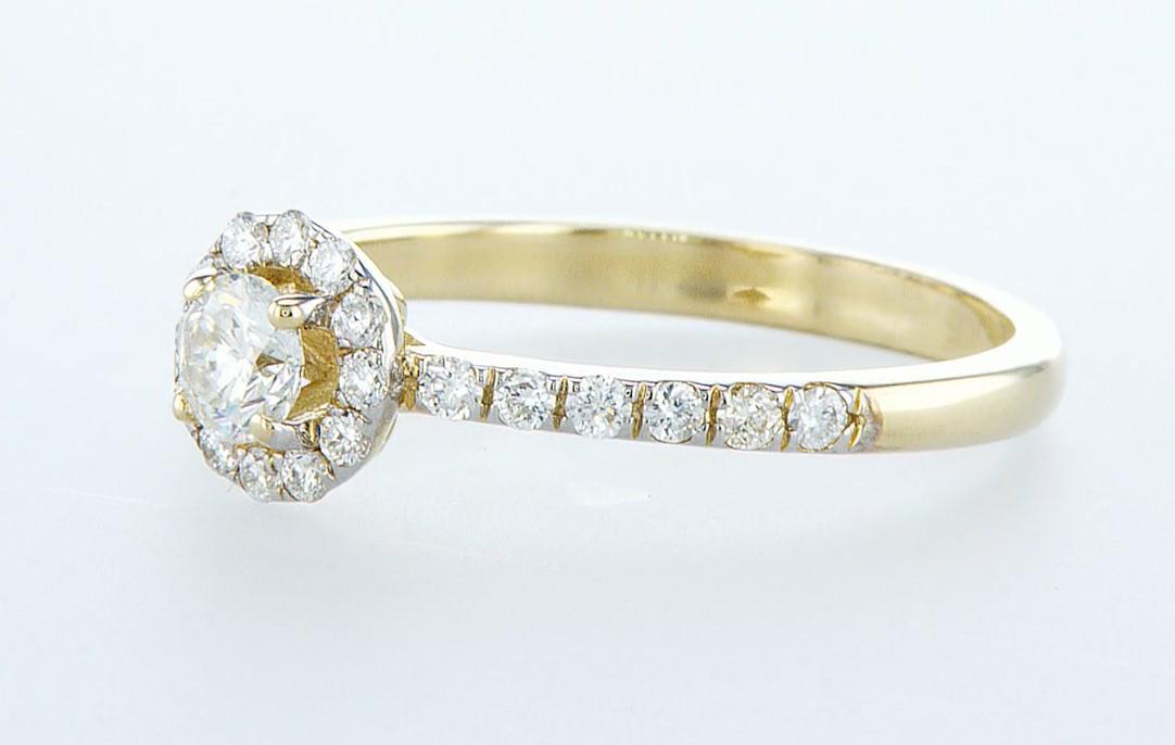 14 kt. Yellow gold - Ring - 0.61 ct Diamond - Diamonds - Image 3 of 6