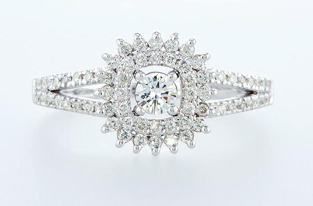 14 kt. White gold - Ring Diamond-0.71CTW