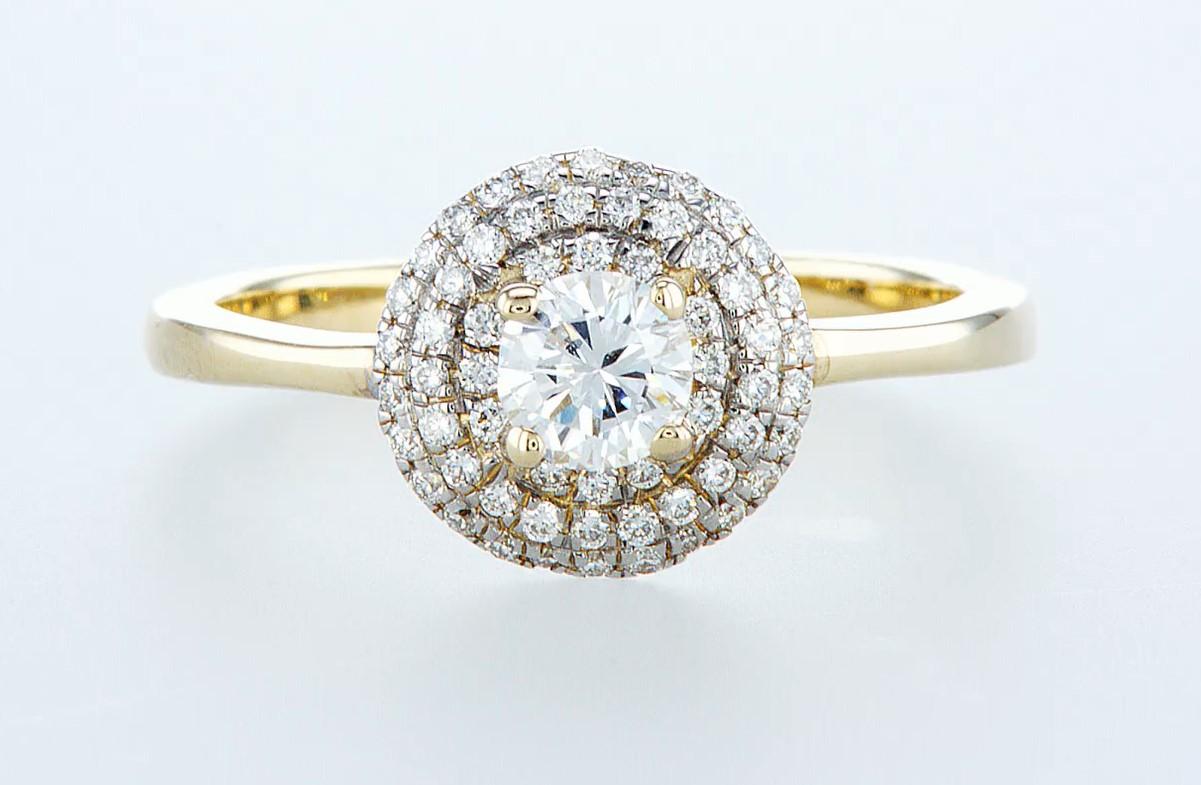 14 kt. Yellow gold - Ring - 0.62 ct Diamond - Diamonds
