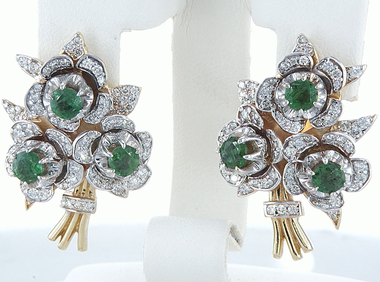 14 kt. Yellow gold - Earrings - 3.10 ct Emerald - Diamonds - Image 5 of 5