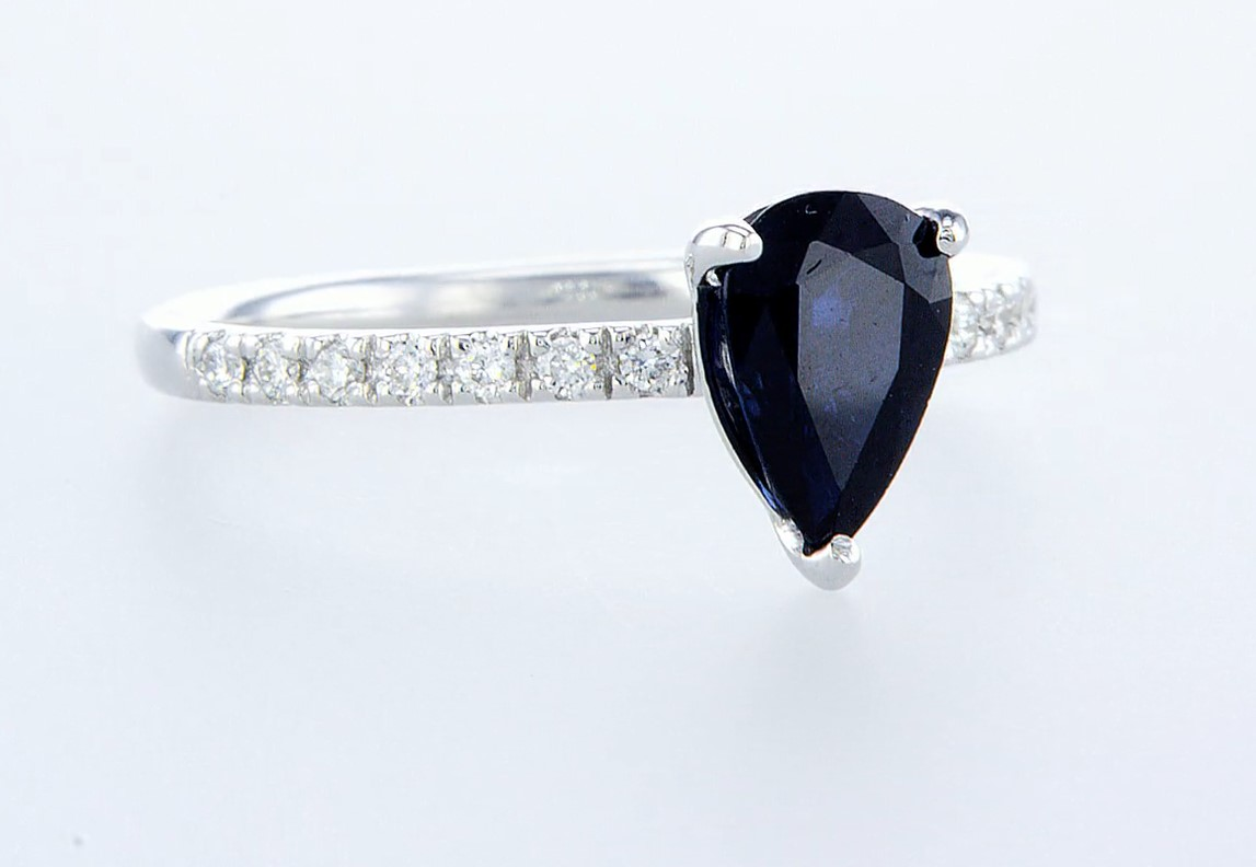 14 kt. White gold - Ring - 1.29 ct Sapphire - Diamonds - Image 6 of 6