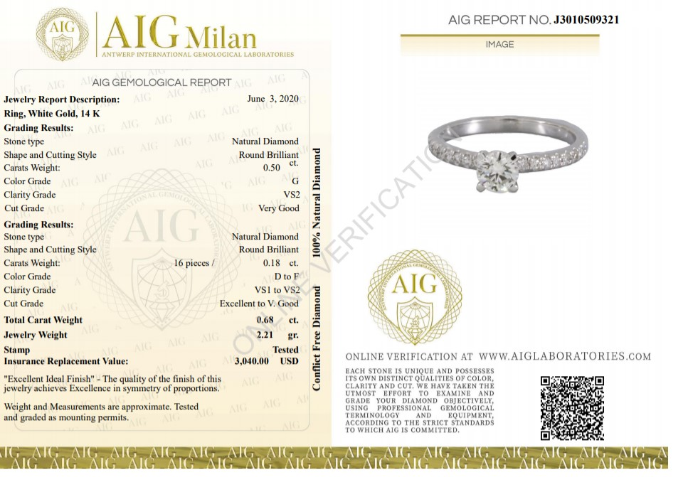 14 kt. White gold - Ring - 0.68 ct Diamond - Diamonds - Image 2 of 6