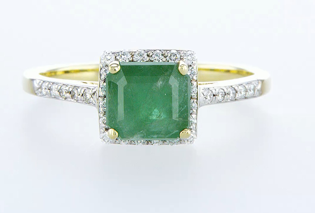 14 kt. White gold - Ring - 1.44 ct Emerald - Diamonds