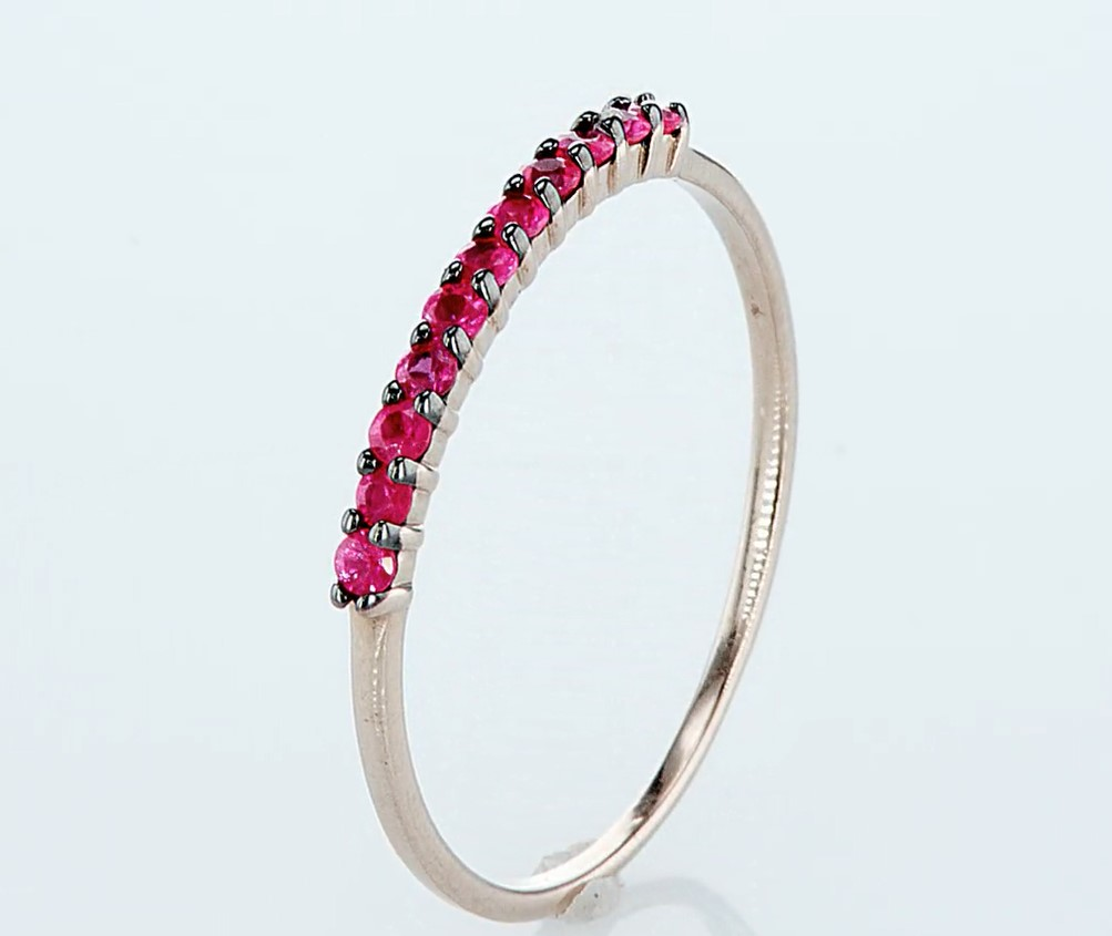 14 kt. Pink gold - Ring - 0.23 ct Ruby - Diamonds