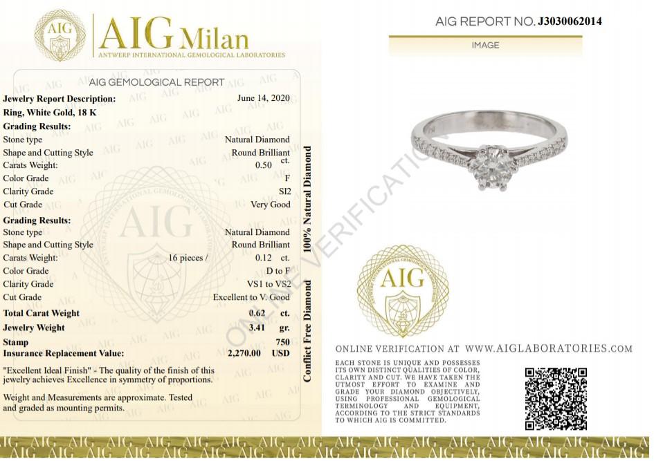 18 kt. White gold - Ring - 0.62 ct Diamond - Diamonds - Image 2 of 6