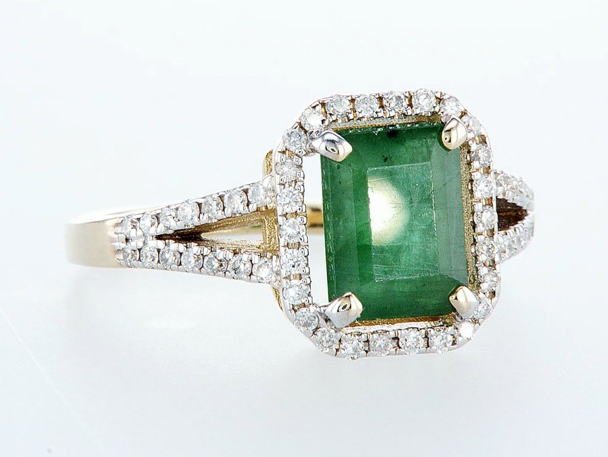 14 kt. White gold, Yellow gold - Ring - 2.01 ct Emerald - Diamonds - Image 7 of 7