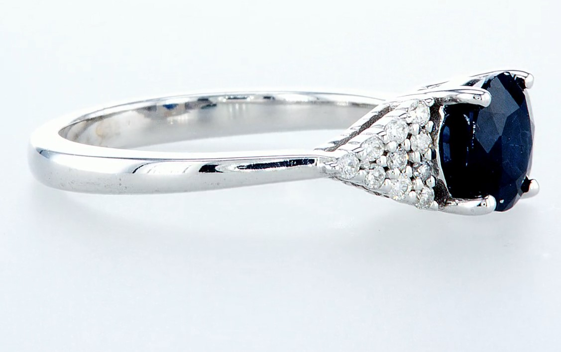 14 kt. White gold - Ring - 1.92 ct Sapphire - Diamonds - Image 6 of 6