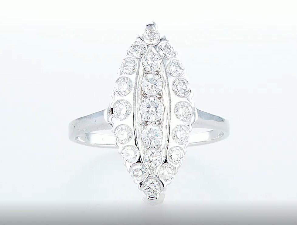 14 kt. White gold - Ring - 0.96 ct Diamond - Diamonds