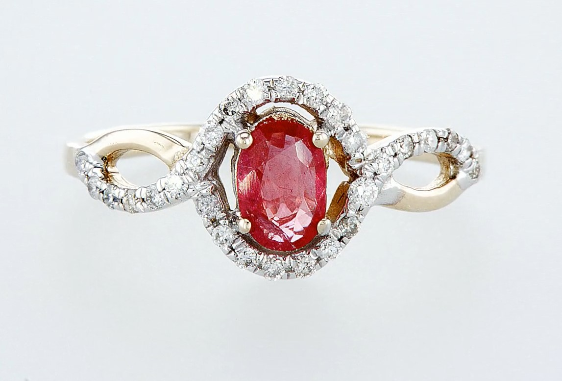 14 kt. White gold, Yellow gold - Ring - 0.59 ct Ruby - Diamonds - Image 6 of 6