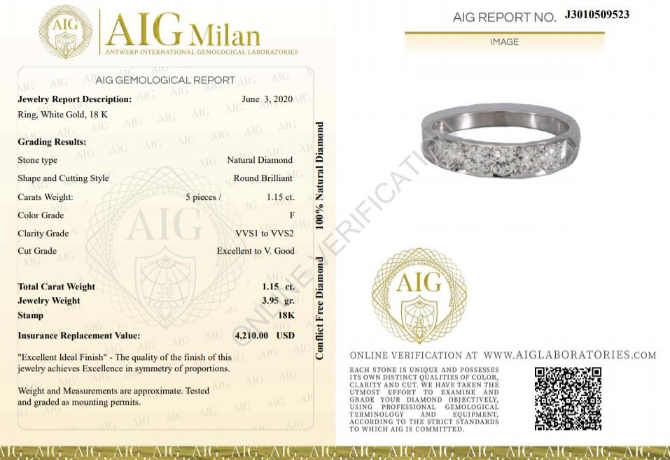 14 kt. White gold - Ring - 1.15 ct Diamond - Diamonds - Image 2 of 5
