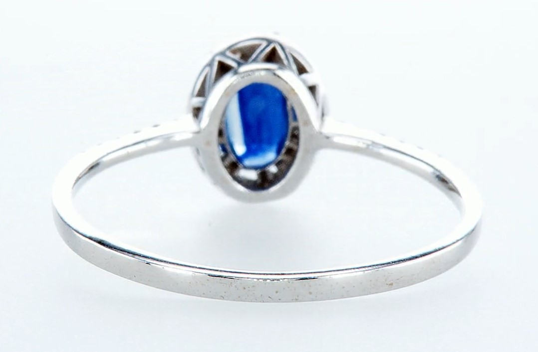 14 kt. White gold - Ring - 0.62 ct Sapphire - Diamonds - Image 5 of 7