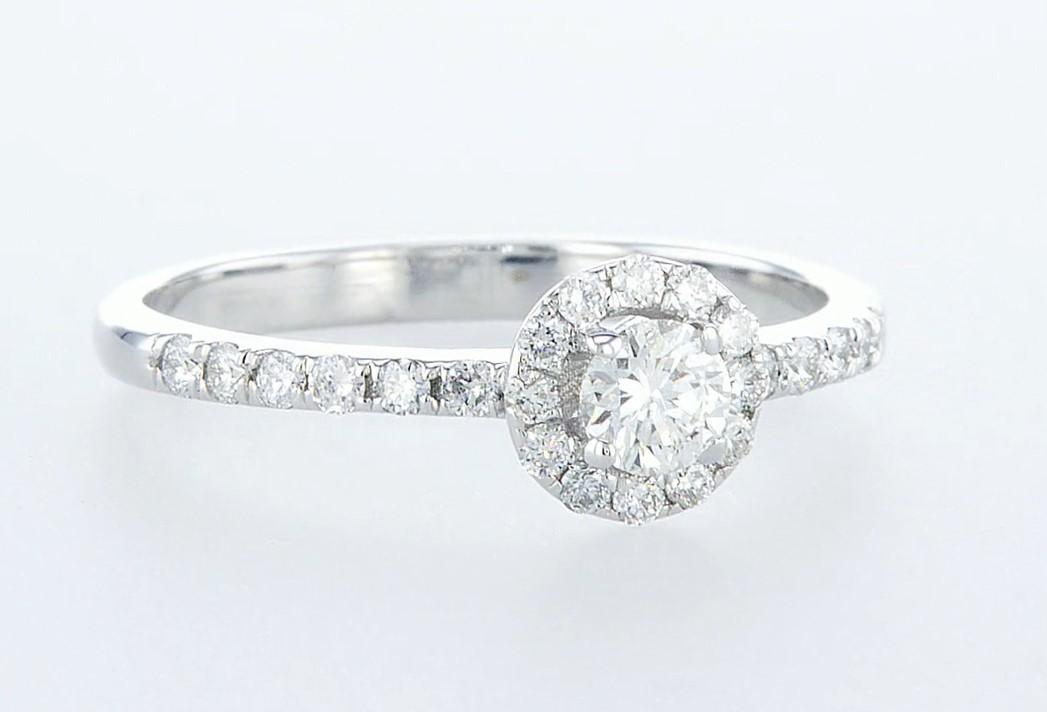 14 kt. White gold - Ring - 0.26 ct Diamond - Diamonds
