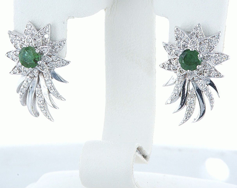 14 kt. White gold - Earrings - 1.00 ct Emerald - Diamonds - Image 4 of 6