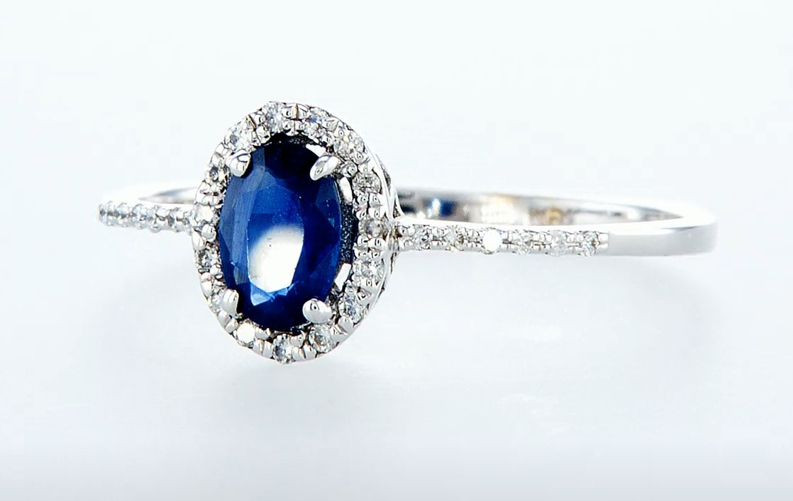 14 kt. White gold - Ring - 0.62 ct Sapphire - Diamonds