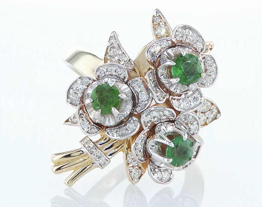 14 kt. Yellow gold - Ring - 1.54 ct Emerald - Diamonds