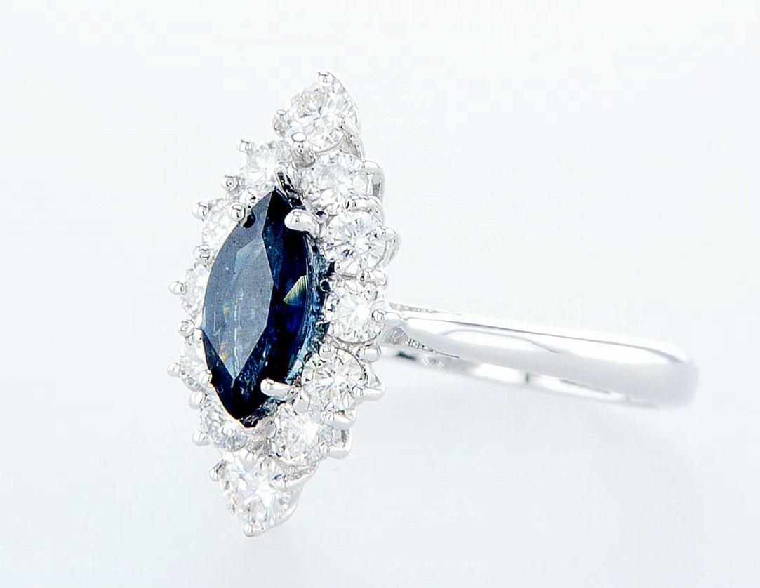 18 kt. White gold - Ring - 1.22 ct Sapphire - Diamonds - Image 3 of 7