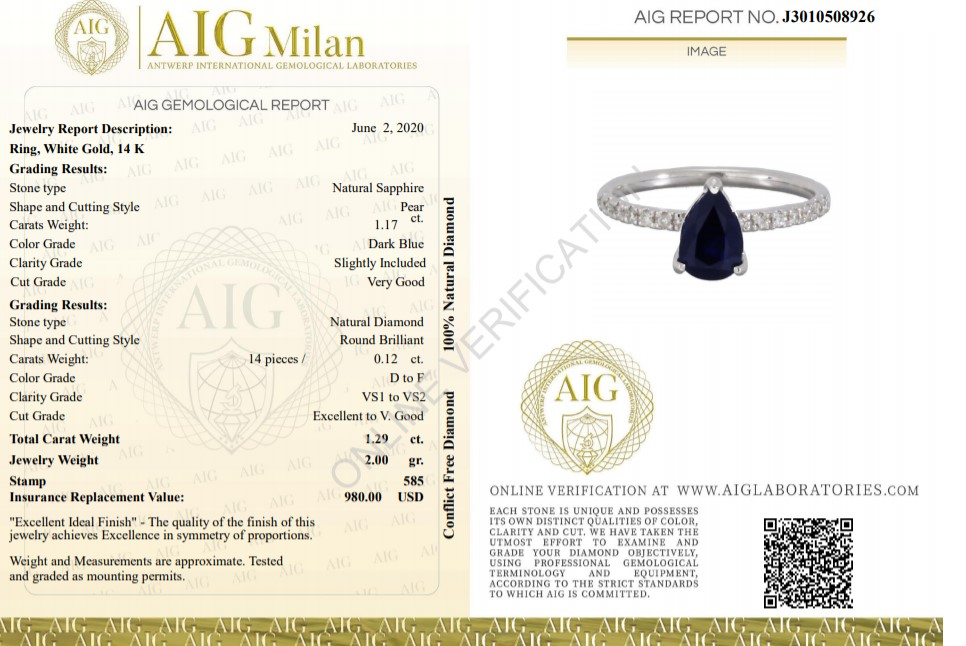 14 kt. White gold - Ring - 1.29 ct Sapphire - Diamonds - Image 2 of 6