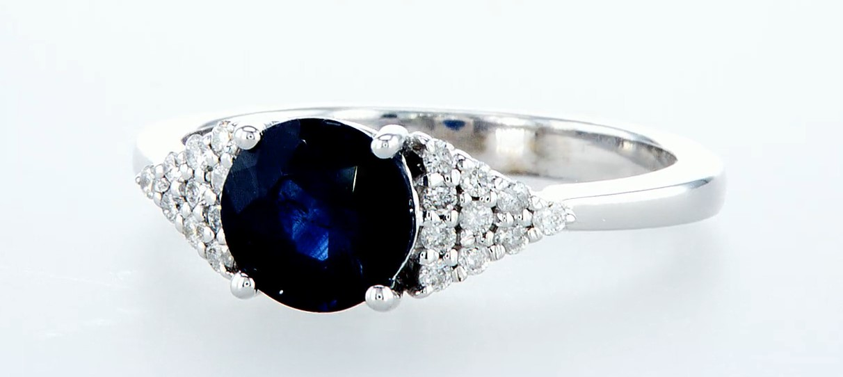 14 kt. White gold - Ring - 1.92 ct Sapphire - Diamonds - Image 3 of 6