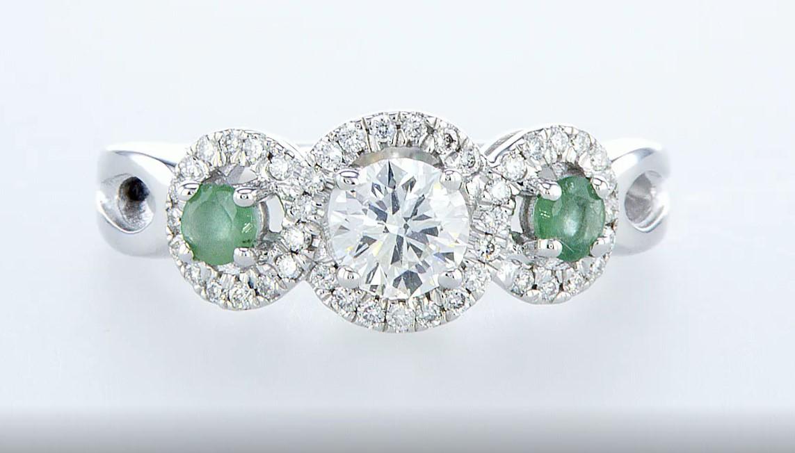 14 kt. White gold - Ring - 0.97 ct Emerald - Diamonds - Image 2 of 7