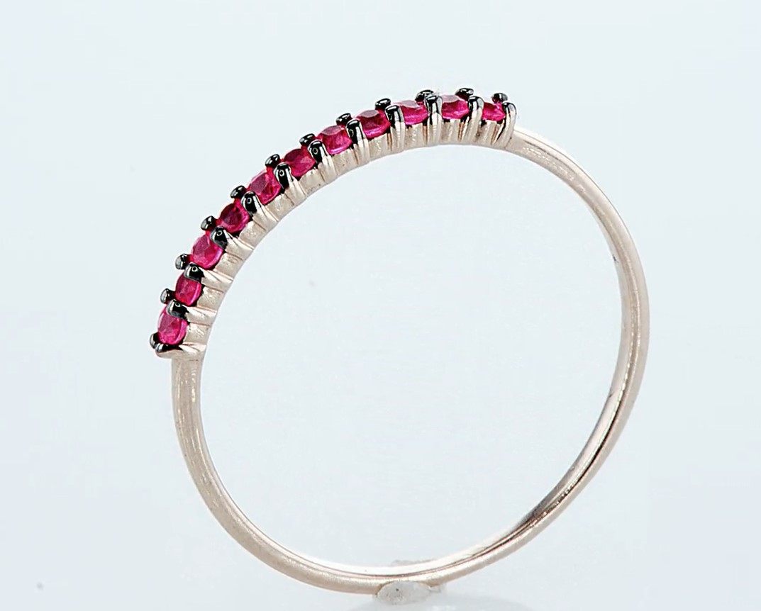 14 kt. Pink gold - Ring - 0.23 ct Ruby - Diamonds - Image 5 of 6