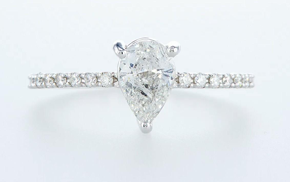 14 kt. White gold - Ring - 0.97 ct Diamond - Diamonds