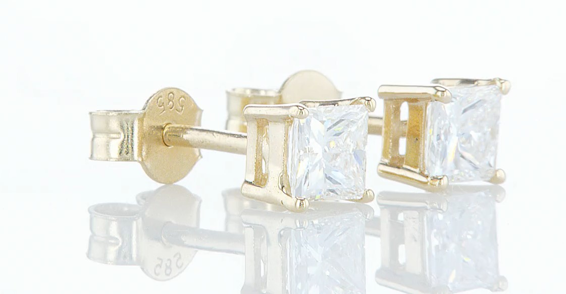 14 kt. Yellow gold - Earrings - 0.85 ct Diamond - Diamonds - Image 4 of 6
