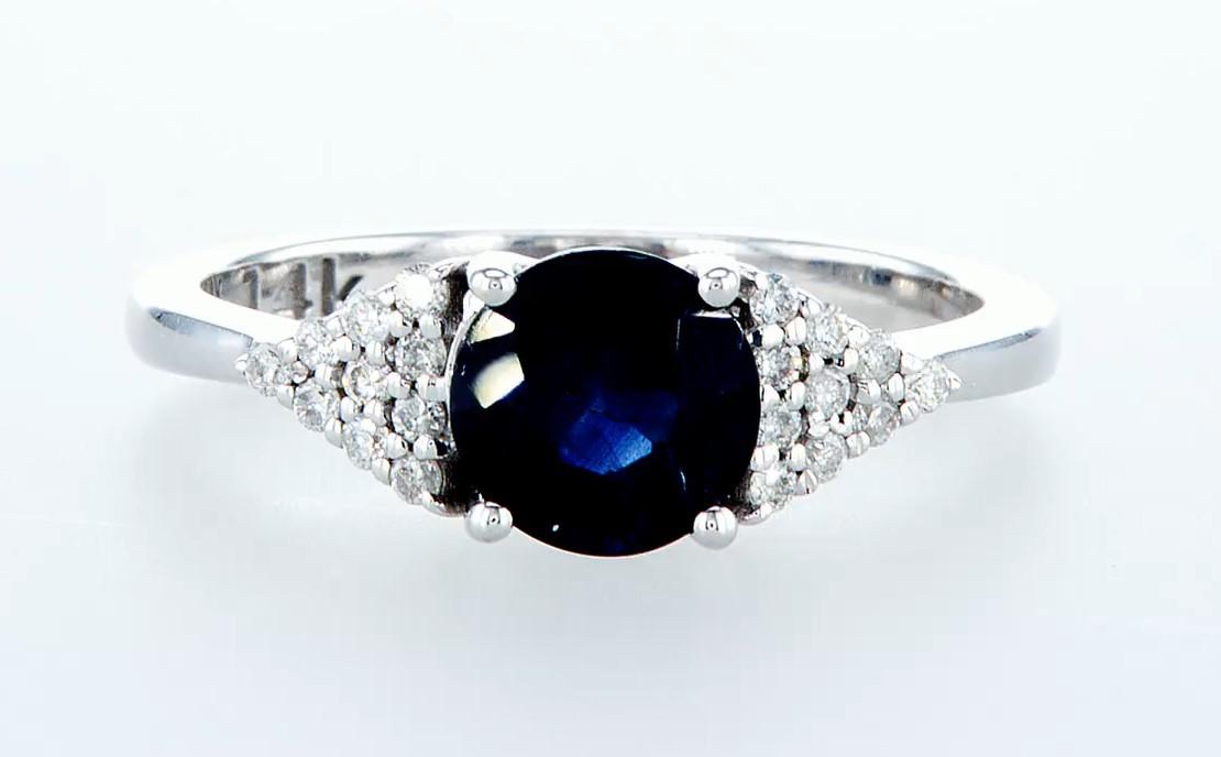 14 kt. White gold - Ring - 1.92 ct Sapphire - Diamonds