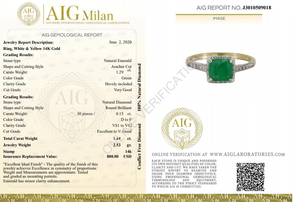 14 kt. White gold - Ring - 1.44 ct Emerald - Diamonds - Image 2 of 6