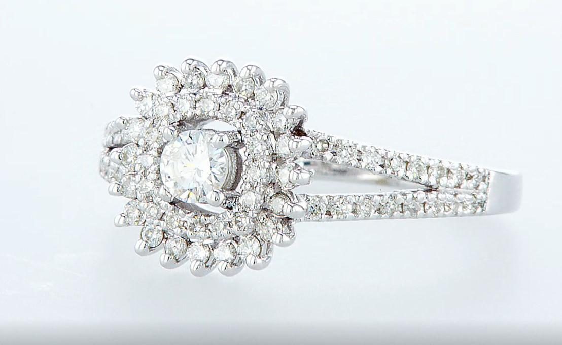 14 kt. White gold - Ring Diamond-0.71CTW - Image 3 of 6