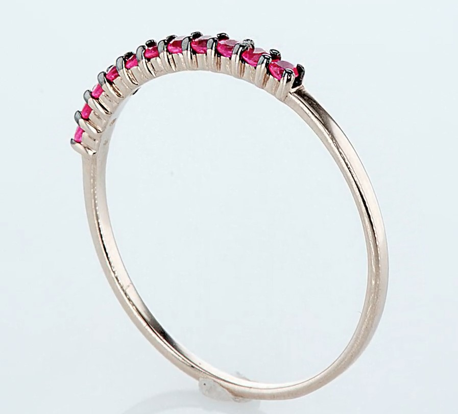 14 kt. Pink gold - Ring - 0.23 ct Ruby - Diamonds - Image 4 of 6