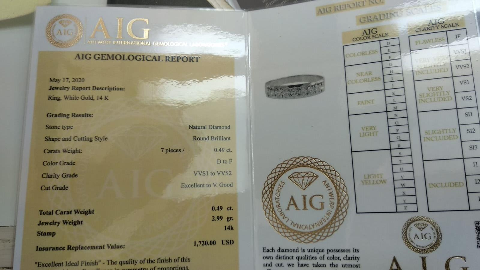 14 kt. White gold - Ring Diamond-0.49CTW - Image 2 of 6