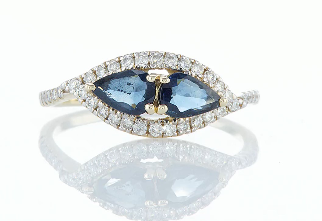 14 kt. Yellow gold - Ring - 1.00 ct Sapphire - Diamonds
