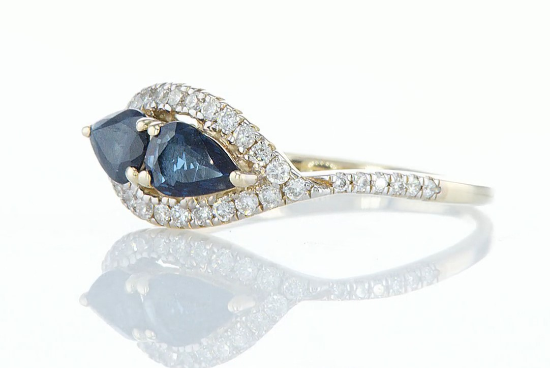 14 kt. Yellow gold - Ring - 1.00 ct Sapphire - Diamonds - Image 3 of 5