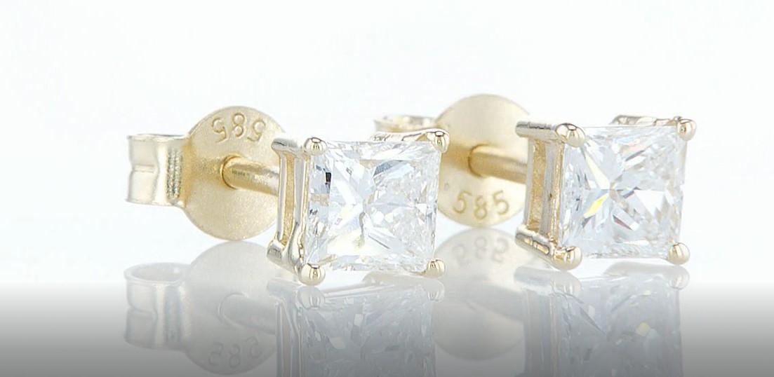 14 kt. Yellow gold - Earrings - 0.85 ct Diamond - Diamonds - Image 3 of 6