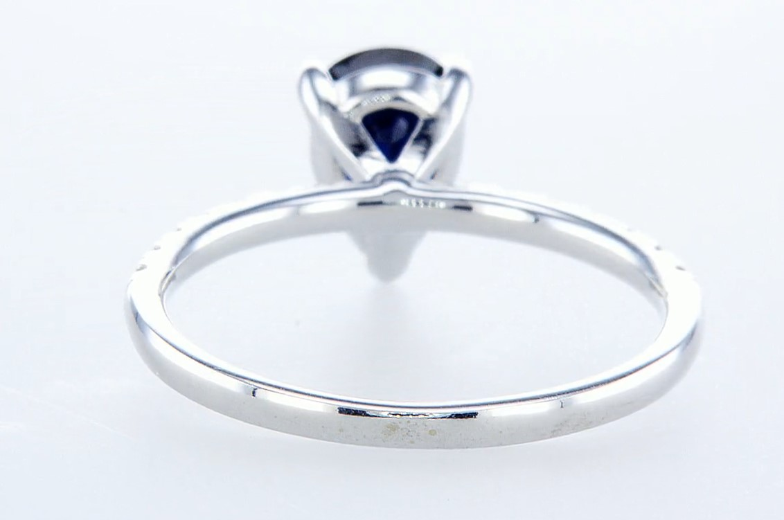 14 kt. White gold - Ring - 1.29 ct Sapphire - Diamonds - Image 4 of 6