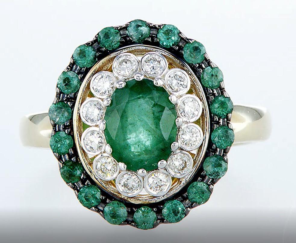 14 kt. White &Yellow gold - Ring - 2.14 ct Emerald - Diamonds