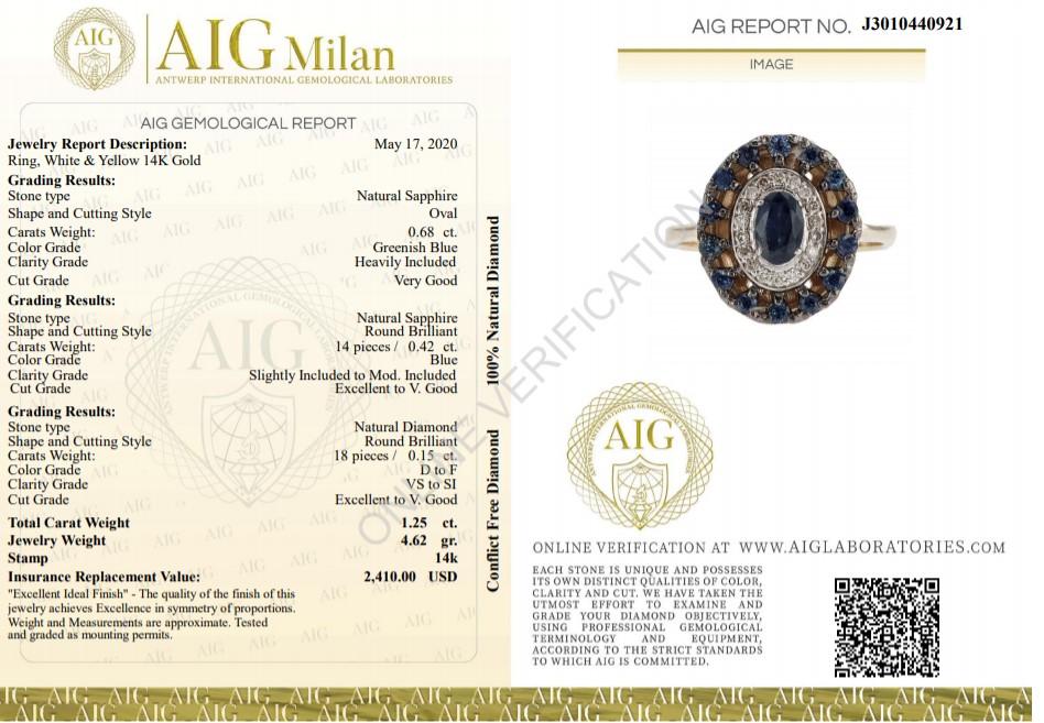 14 kt. White &Yellow gold - Ring - 1.25 ct Sapphire - Diamonds - Image 2 of 7