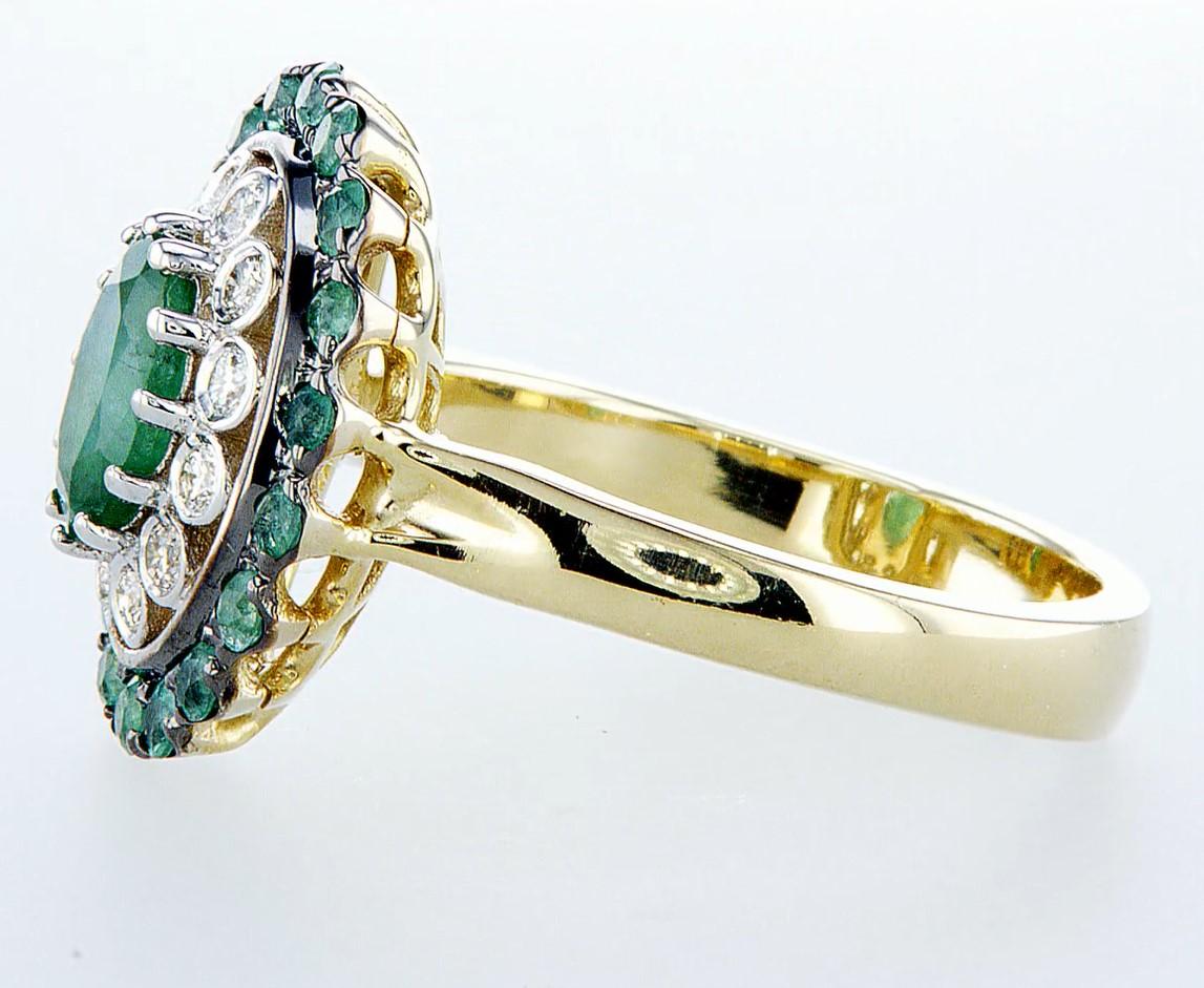 14 kt. White &Yellow gold - Ring - 2.14 ct Emerald - Diamonds - Image 4 of 6