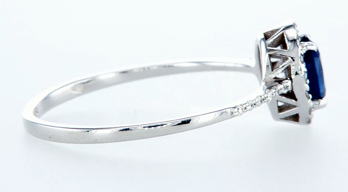 14 kt. White gold - Ring - 0.62 ct Sapphire - Diamonds - Image 6 of 7