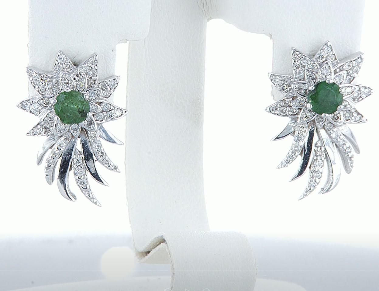 14 kt. White gold - Earrings - 1.00 ct Emerald - Diamonds