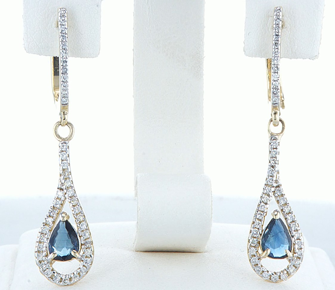 14 kt. White gold - Earrings - 1.20 ct Sapphire - Diamonds - Image 3 of 5