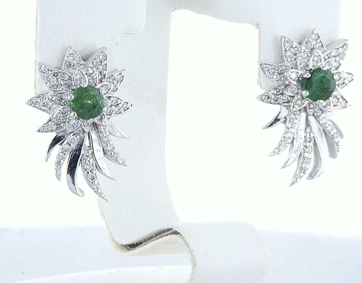 14 kt. White gold - Earrings - 1.00 ct Emerald - Diamonds - Image 3 of 6