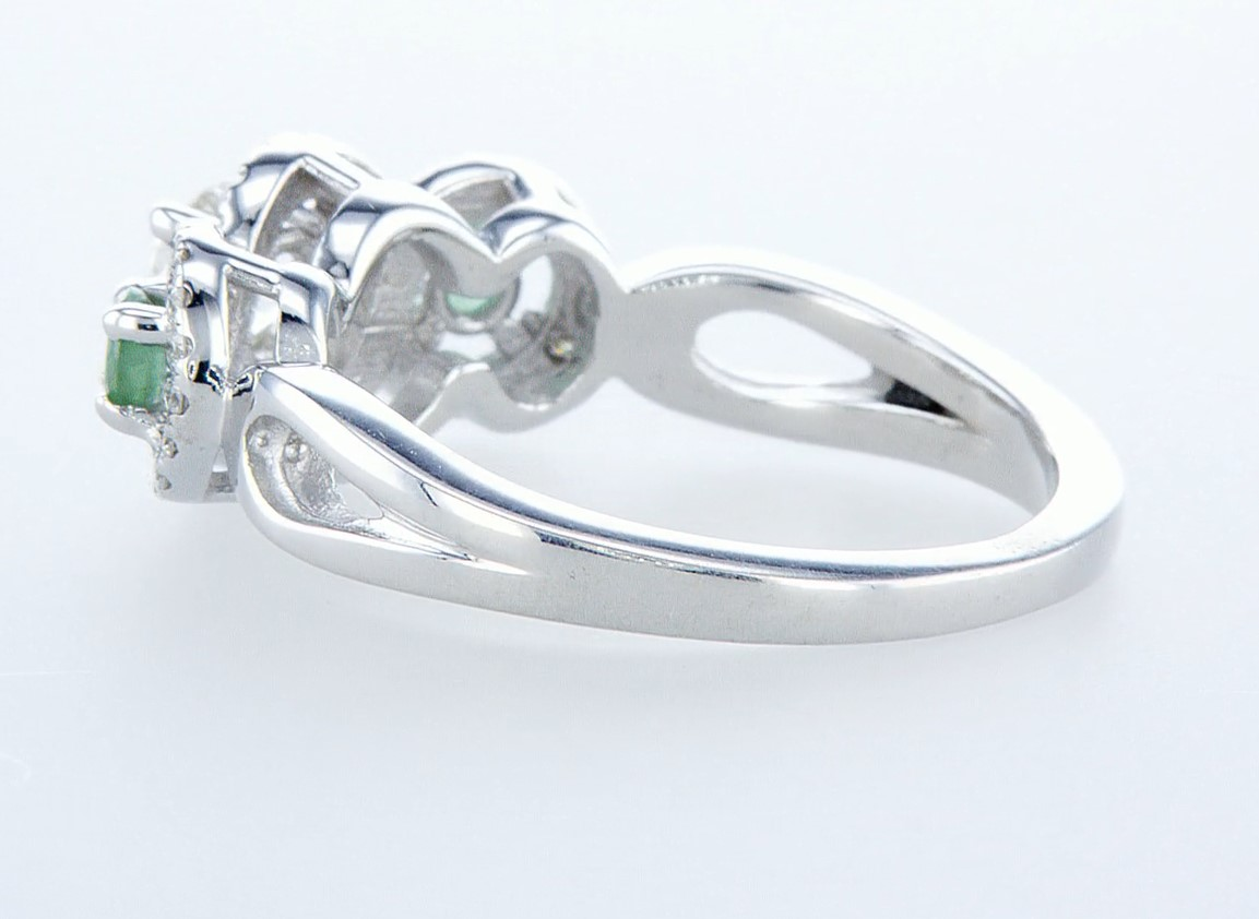14 kt. White gold - Ring - 0.97 ct Emerald - Diamonds - Image 5 of 7