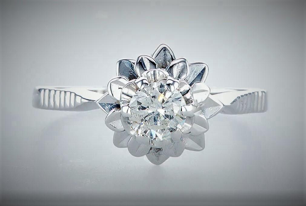 14 kt. White gold - Ring Diamond-0.45CTW