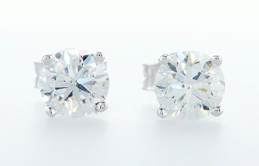 14 kt. White gold - Earrings - 1.40 ct Diamond - Diamonds