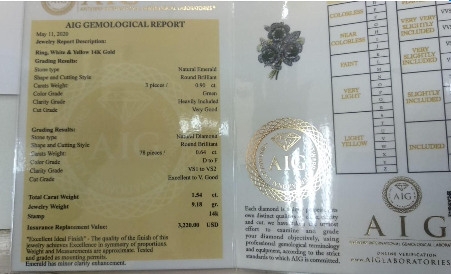 14 kt. Yellow gold - Ring - 1.54 ct Emerald - Diamonds - Image 2 of 6