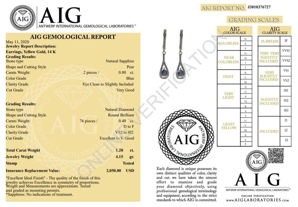 14 kt. White gold - Earrings - 1.20 ct Sapphire - Diamonds - Image 2 of 5