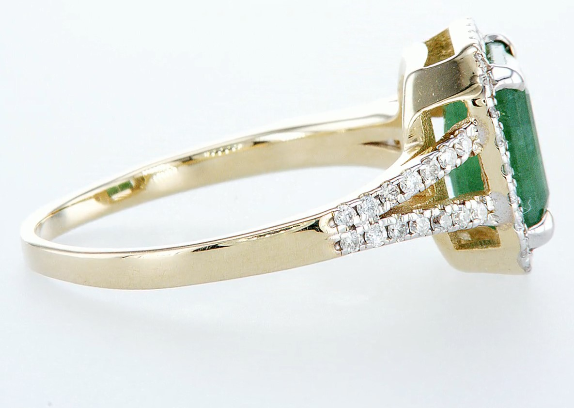 14 kt. White gold, Yellow gold - Ring - 2.01 ct Emerald - Diamonds - Image 6 of 7