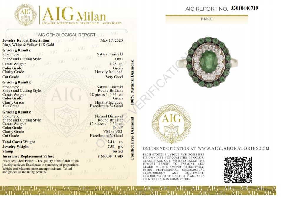 14 kt. White &Yellow gold - Ring - 2.14 ct Emerald - Diamonds - Image 2 of 6