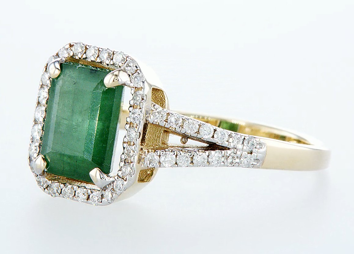 14 kt. White gold, Yellow gold - Ring - 2.01 ct Emerald - Diamonds - Image 3 of 7